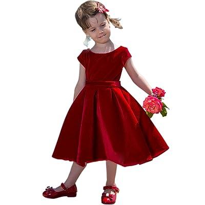 Dressvip Enfant Fille Robe de Cérémonie Noël Partie Robe Manche Courte Longueur Genou Velours Rouge avec Nœuds Automne Hiver 2-14 ans