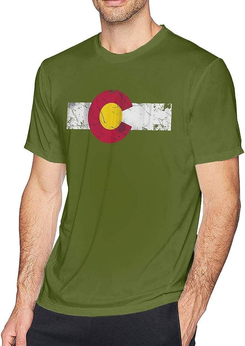 Camisa de algodón de Manga Corta con Estampado de serigrafía de los Hombres con la Bandera de Colorado para Hombres Adultos: Amazon.es: Ropa y accesorios