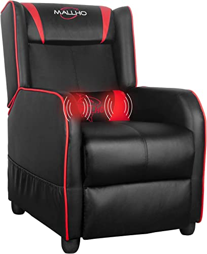 Polar Aurora Gaming Recliner Chair PU Leather Massage Recliner Vibratory Massage Function Ergonomic Lounge