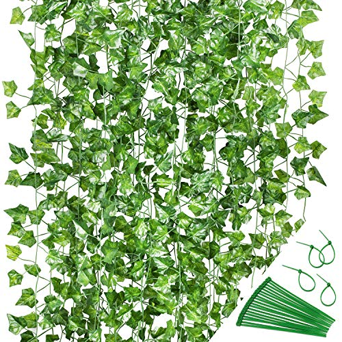 GPARK 24 Strands / Each 82 inch, Artificial Ivy Garland Fake Leaf Plants Vine , Green Flowers Hanging for Wedding Party…