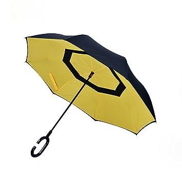 Paraguas de Aigumi innovador y resistente al viento, reversible y plegable con doble capa para