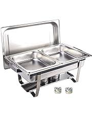 Gastro-Bedarf-Gutheil Chafing Dish -Twin-, Edelstahl, bestehend aus: 1 Gestell mit Deckelhalterung, 1 Wasserbecken 2 Speisebehälter GN 1/2 - Tiefe 65 mm + 2 x Brennpaste