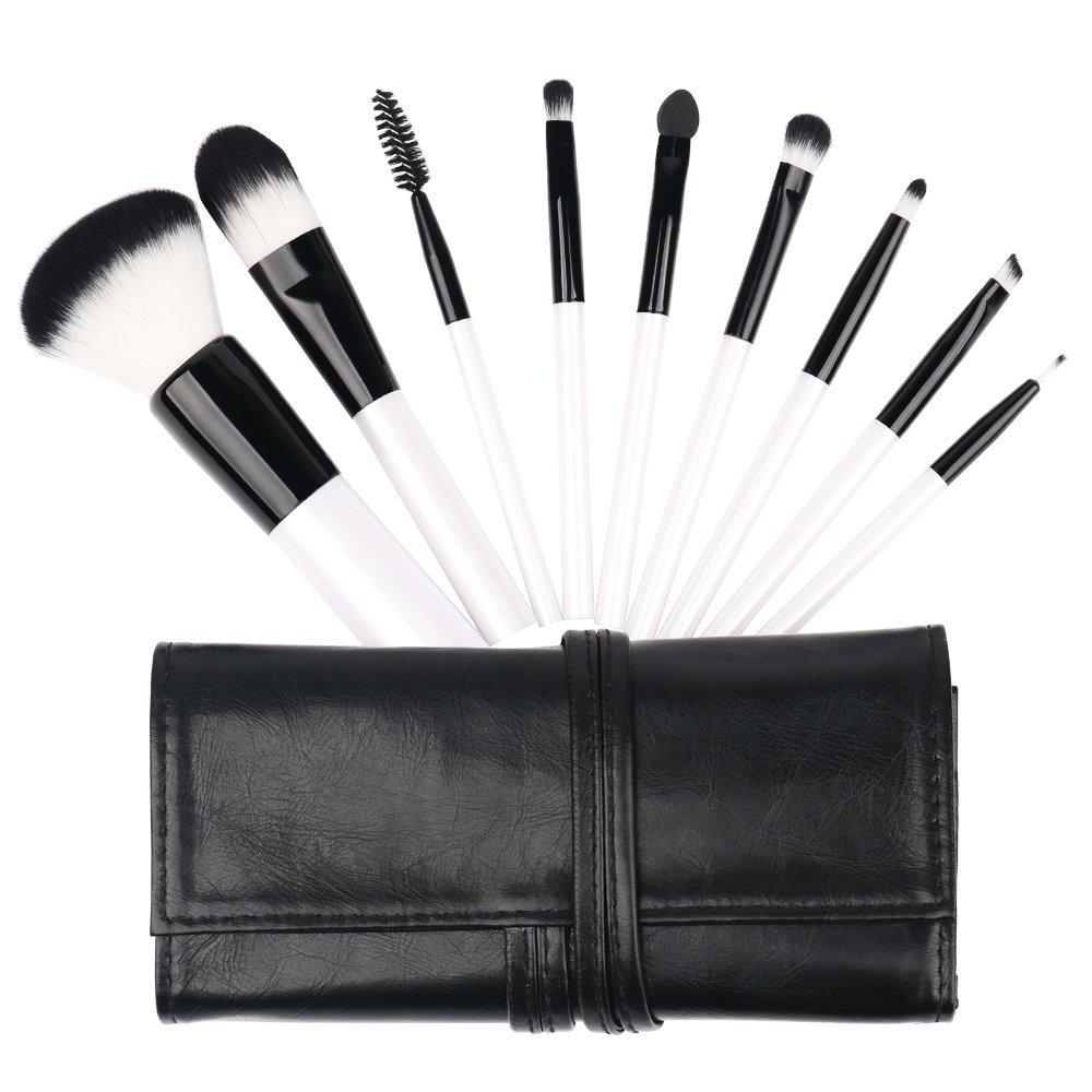 Makeup Brushes - Mini Premium Cosmetic Brush Set Foundation Blending Blush Eyeliner Face Powder Brush Kit with Travel Case (9 Pcs, Clean White) TM