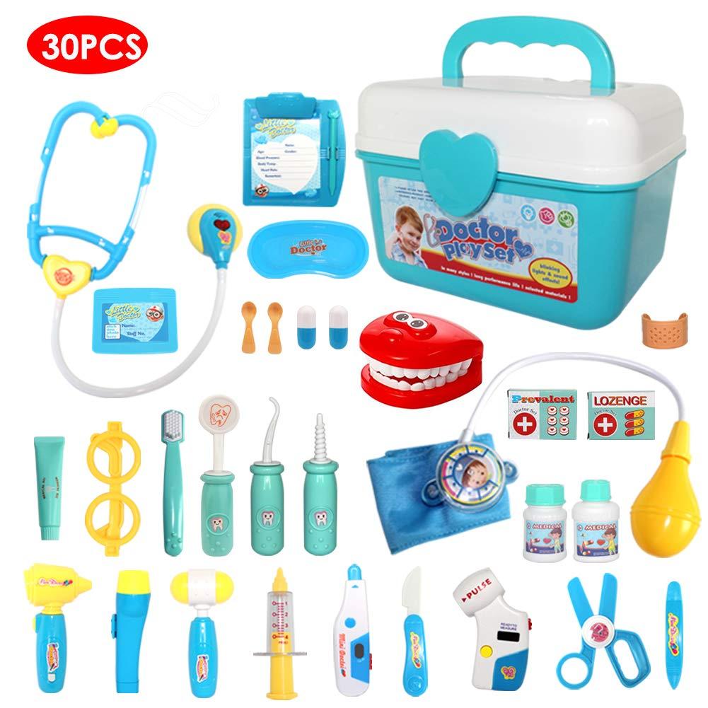 Buyger 30 Teile Arztkoffer Medizinisches Doktor Rollenspiel Spielzeug Geschenke Kinder(Blau)