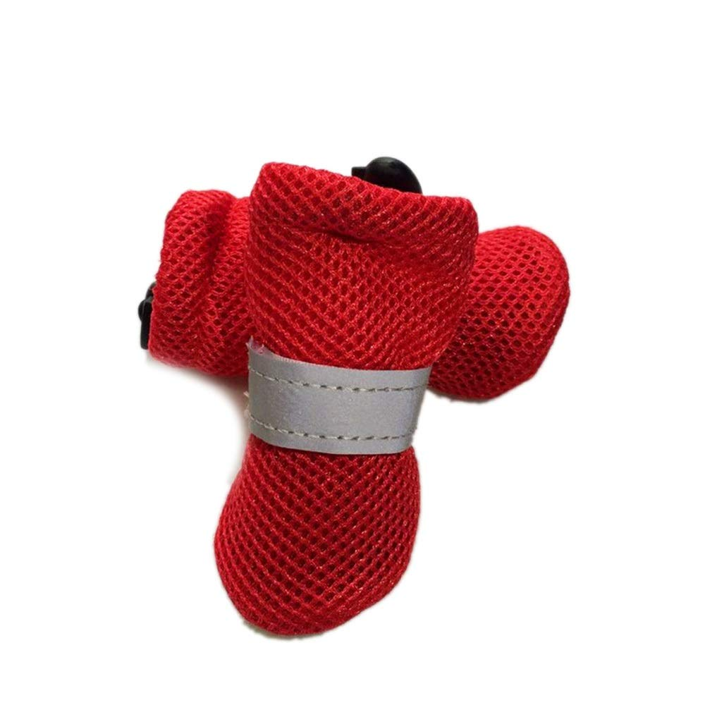 Red 4  Red 4  AUSWIEI Waterproof, Non-Slip, Comfortable, Soft, Indoor, Pet Dog shoes, Warm Rain Boots (color   Red, Size   4 )