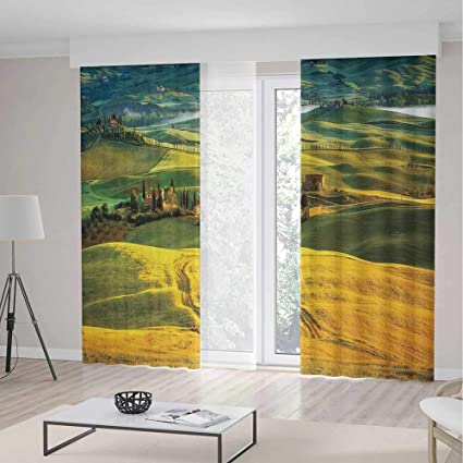YOLIYANA Blackout Curtains,Tuscan,Living Room Bedroom Décor,Idyllic  Landscape of Tuscany Road and Cypresses to Medieval Farmhouse Image,2 Panel  Set ...