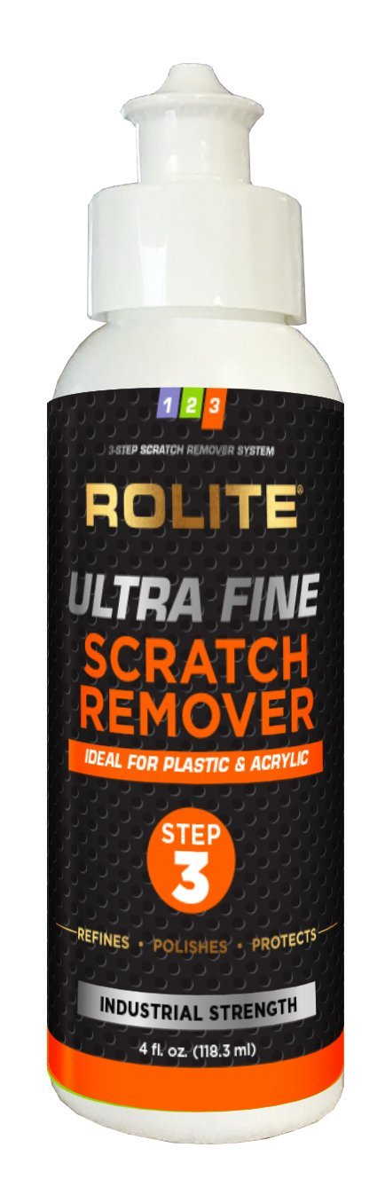 Rolite Ultra Fine Scratch Remover for Plastic & Acrylic Surfaces including Marine Strataglass & Eisenglass, Headlights, Aquariums, Retail Displays and Other Clear Plastic Surfaces (4 fl. oz.)