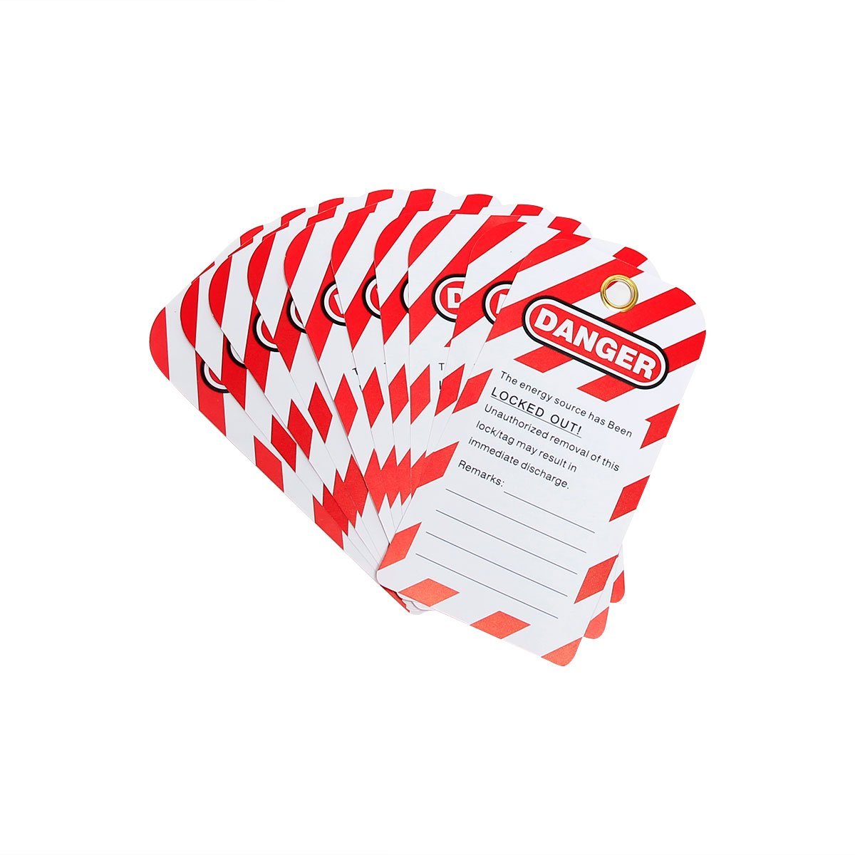 Wisamic 20 Pack Lockout Tag Red//Black on White 5.4x3 5.4x3,Danger DO NOT Operate Unrippable Vinyl