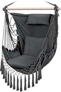 Hammock Chair Swing, Hanging Chair with 3 Cushions Pillow and Side Pocket, 500 lbs Weight Capacity, Swing Chair for Indoor, Outdoor, Garden, Patio, Porch, Yard (Grey)