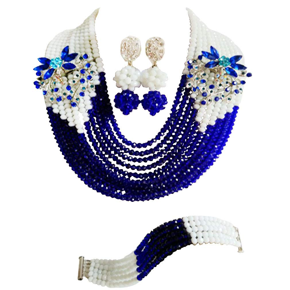 laanc Womens Jewellery Sets 10 Rows 6mm Multicolor Crystal Nigerian Wedding African Beads Necklace Bracelet Earrings Jewelre Gift Jewelry Sets