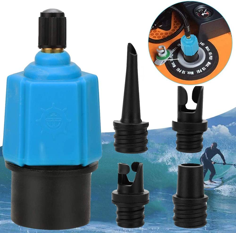 Retail Sign Systems Inflatable SUP Pump Adaptor Compressor Air Valve Converter, Multifunction SUP Valve Adapter with 4 Air Valve Nozzlesz, Air Valve Adaptor for Inflatable Boat, Stand Up Paddle Board