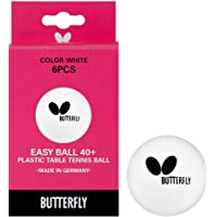 Butterfly Easy Ball 40+ Poly Table Tennis Balls - 6 Pack - 40mm - White - Great For Training