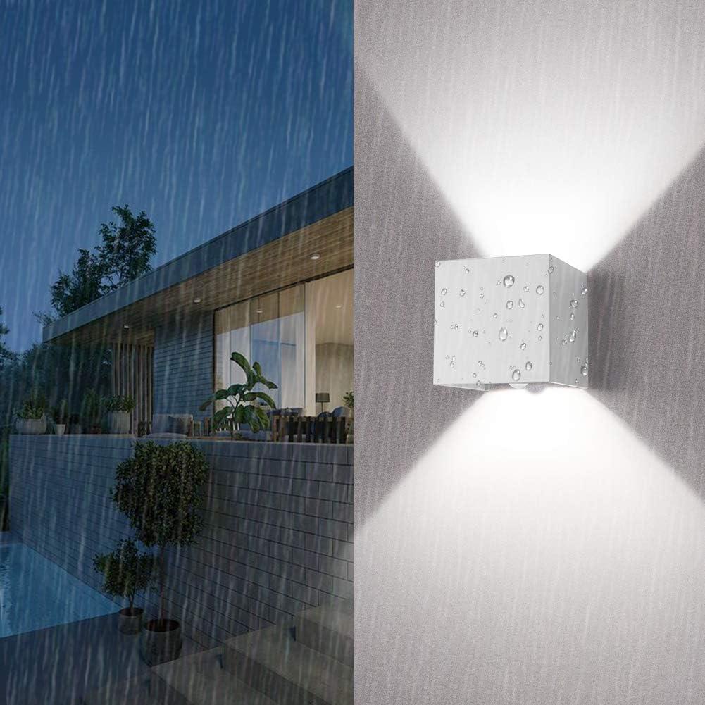 Klighten LED Wandleuchte mit Bewegungsmelder, 12W Wandbeleuchtung mit Einstellbar Abstrahlwinkel IP 65 Wasserdichte Außenwandleuchten Innen/Aussen Wandlampe, Natürliche Weiße,Dunkelgrau Weiß