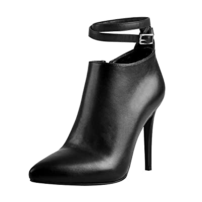 Onlymaker Women's Ankle Strap Point Toe Ankle High Heeled Bootie | Ankle & Bootie
