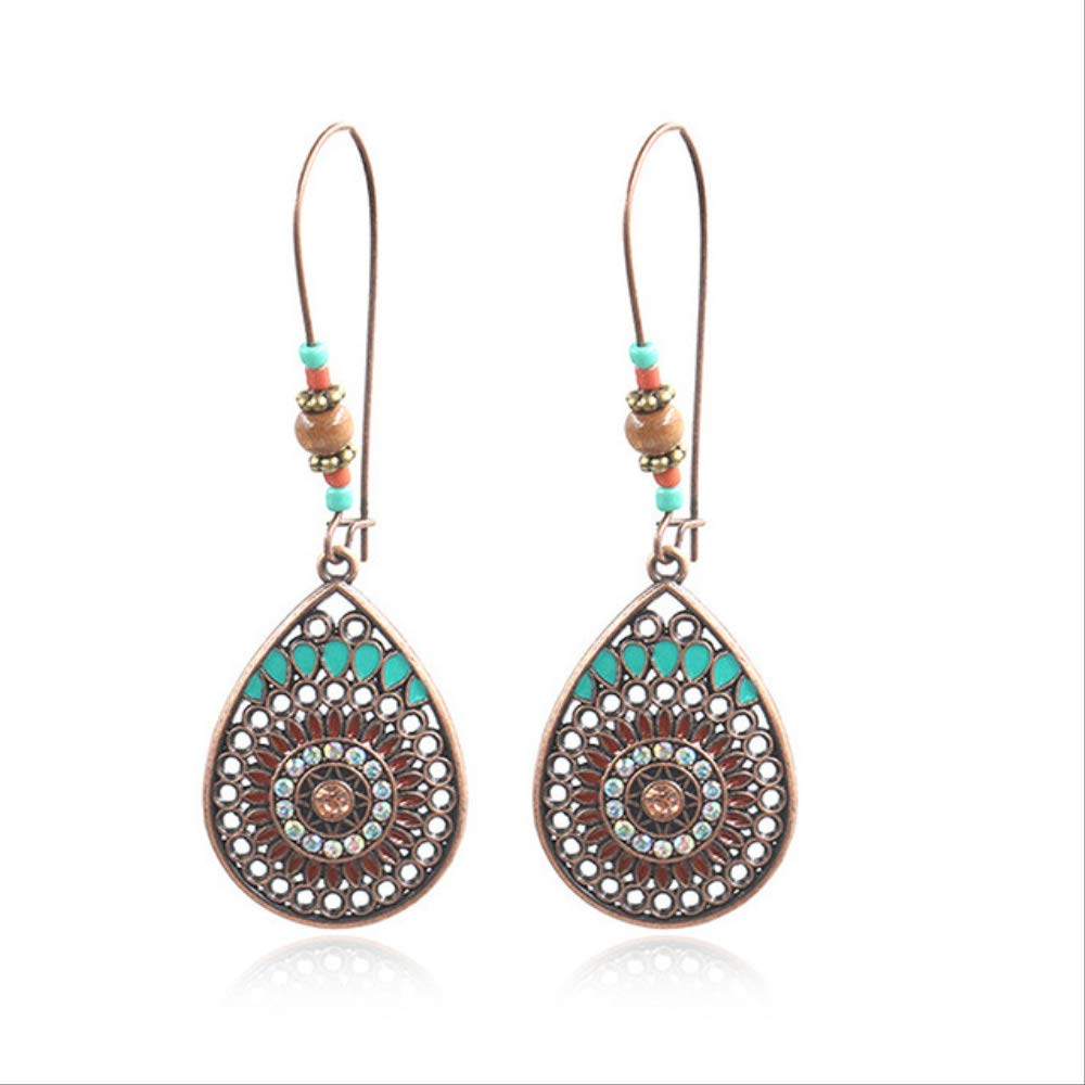 UK BOHO CRYSTAL BEAD DANGLE DROP LONG EARRINGS Indian Bohemian Ethnic Jewellery