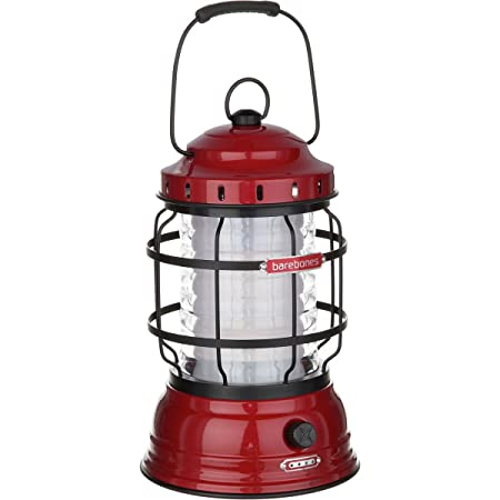 Barebones Living Forest Lantern Red – Rechargeable Outdoor Lantern with LED Lights