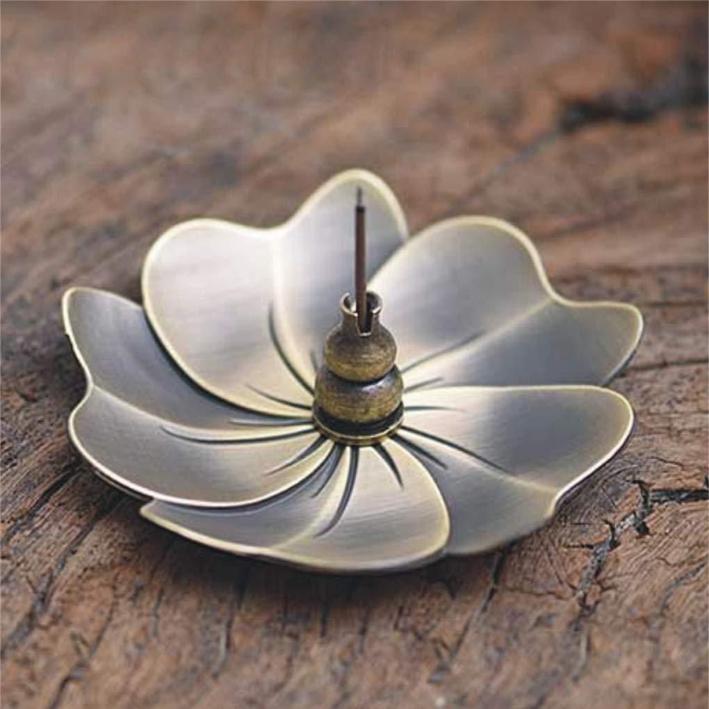 Moonlove Lotus Incense Burner Vintage Bronze Incense Stick Coil Holder Stand Ash Catcher Tray Plate Home Buddhist Decor Birthday Water Drop