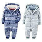 Carters Baby Unisex Fair Isle Hooded Fleece Jumpsuit 2 Pack Gift Set (18 Months)