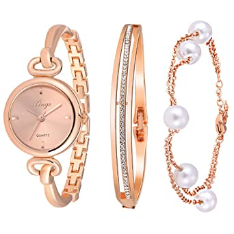 Amazoncom Xinge Womens Rose Gold Watch Set Quartz Jewelry Bangle