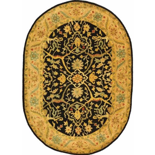 (Safavieh Antiquities Collection AT14B Handmade Traditional Oriental Black Wool Oval Area Rug (7'6