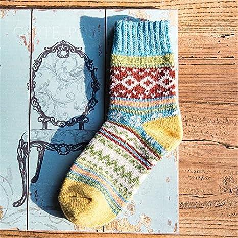 YANSHG® 5 Pares Mujeres Estilo Vintage Invierno Suave cálido Grueso Tejer Calcetines de Lana: Amazon.es: Electrónica