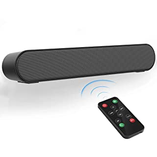 [New Upgraded] Bluetooth Soundbar LENRUE FM Radio Soundbar Powerful Sound Bar with Mic AUX/RCA, USB, Support for Projector, Tablet, PC, Desktop, Smartphone, TV, Remote Control