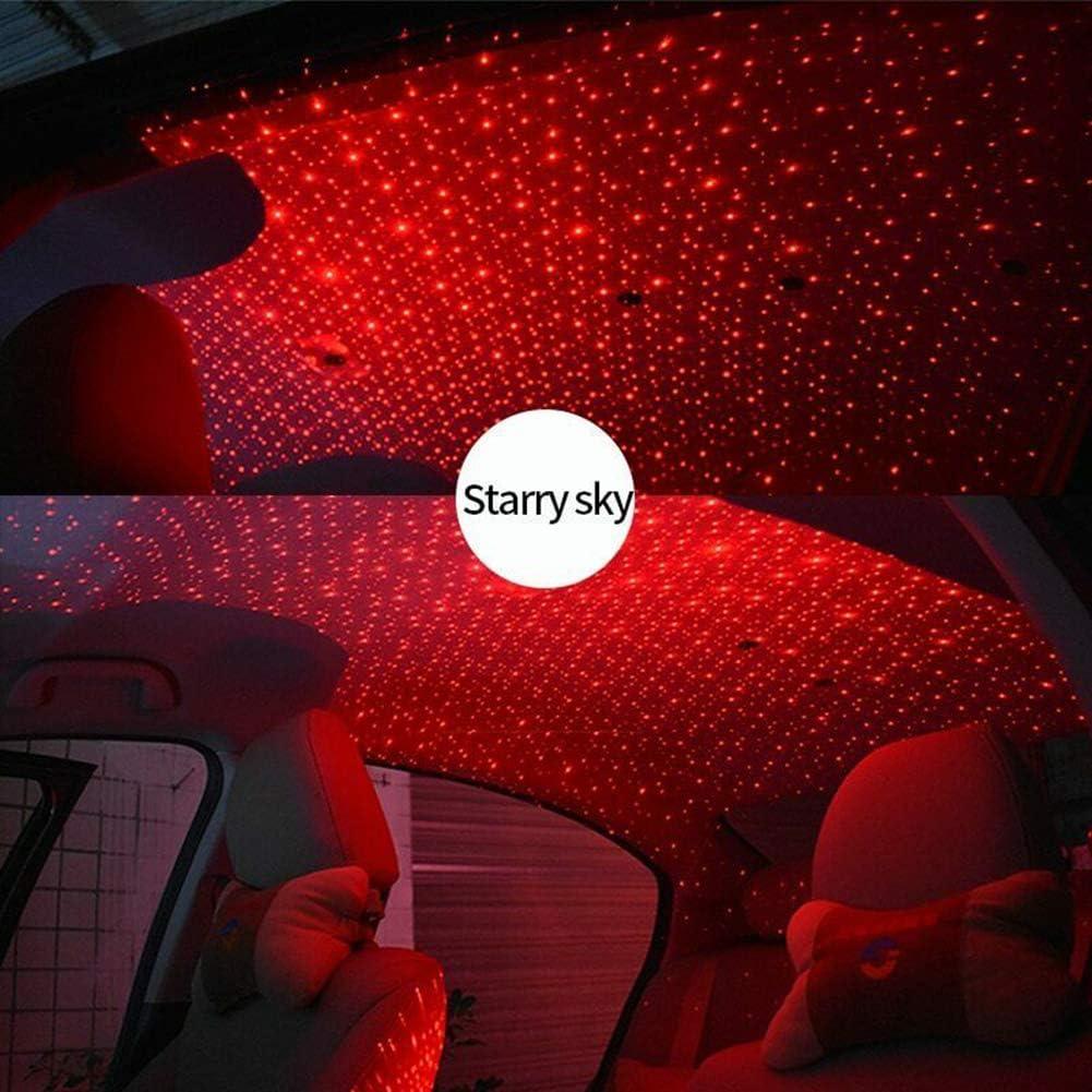 Autoinnenbeleuchtung Auto USB LED Auto Dach Stern Lichter Romantische Rot Sternenhimmel Lichter Musik Sound Remote Fit Alle Autos Decke Dach Dekoration Lichtfarbe Rot