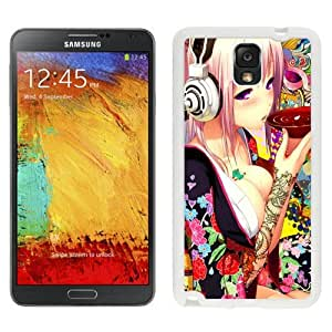 NEW Unique Custom Designed Samsung Galaxy Note 3 N900A N900V N900P N900T Phone Case With Sexy Anime Girl Headphones Drinking Tea_White Phone Case