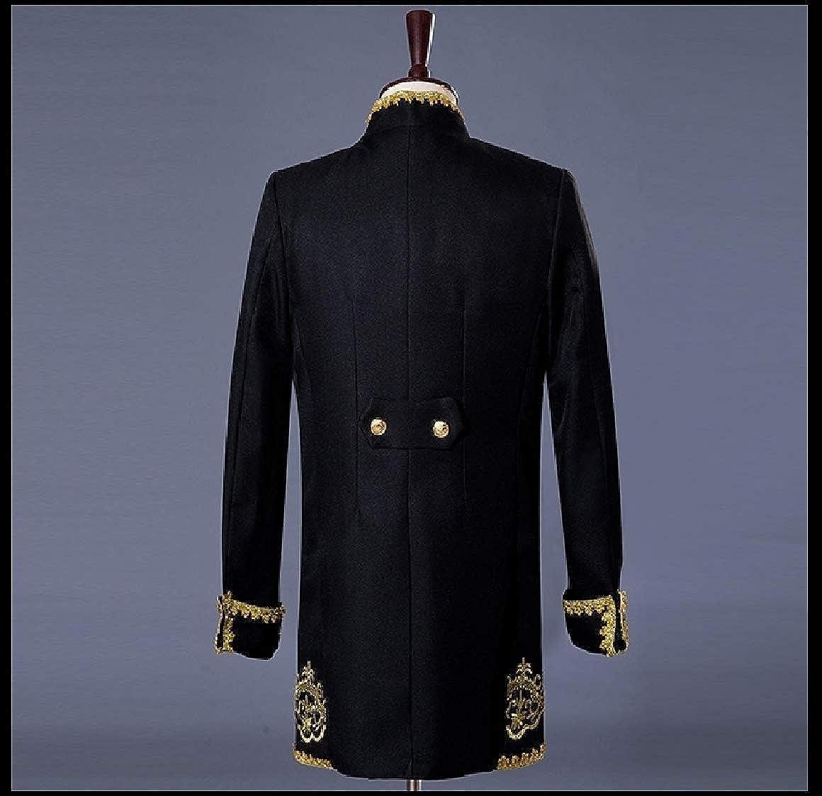Abetteric Men Embroidery Oversize Set 3-Piece Coattail Silm Jackets Suit