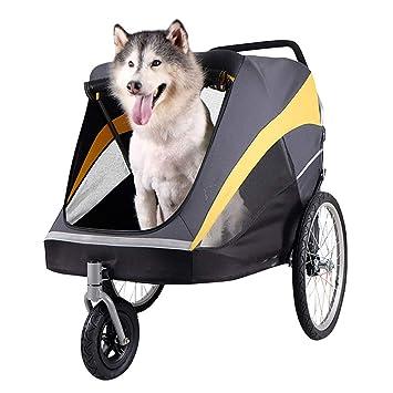 QNMM El Cochecito Plegable para Mascotas de Tres Ruedas es fácil de Transportar para un Perro Mediano Grande o múltiple con Aire neumático Lleno: Amazon.es: ...