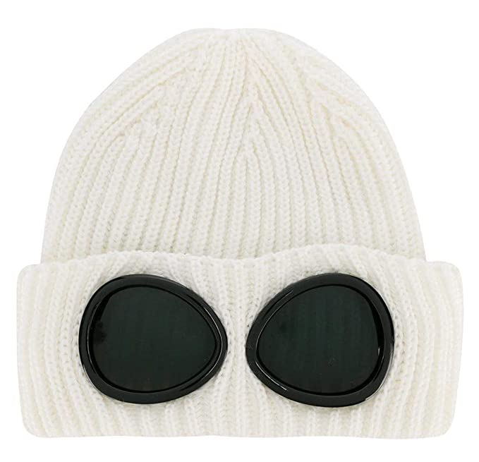 18c19d851 C.P. Company Merino Extrafine Knitted Goggle Beanie in White - One ...