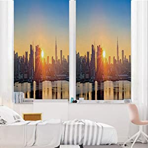 """City 3D No Glue Static Decorative Privacy Window Films, Tranquil Sunrise at Midtown Manhattan United States NYC Waterfront America,24""""x36"""",for Home & Office Decor,Pale Blue Peach Tan"""