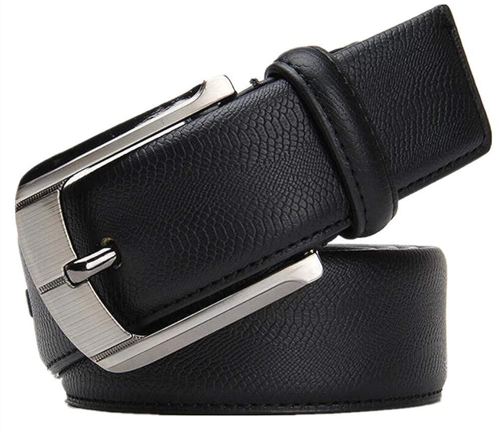 JACKDAINE Mens Classic Leather Fashion Road Pin Buckle Belt Casual Joker Belt