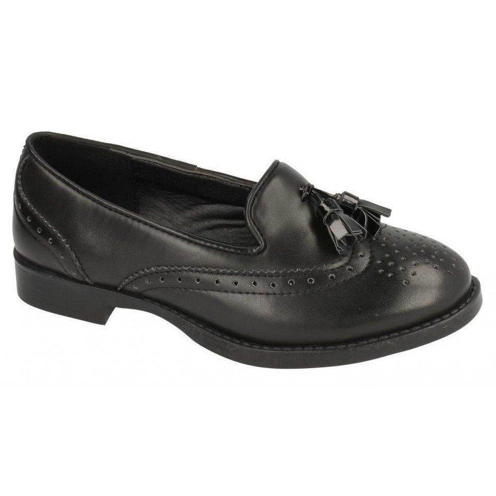 Spot On Childrens Girls Brogue Detail Flat Loafers (US Size 13 Junior) (Black PU)