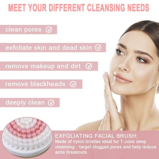Amazon Com Facial Cleansing Brush Electric Spin Face Cleanser Aveyrona Rechargeable Face Brush Set With 3 Brush Heads And 2 Modes For Deep Cleansing Gentle
