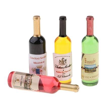 6Pcs Dollhouse 1:12 Miniature Wine Whiskey Bottles Shop Pub Bar Drink Accessory