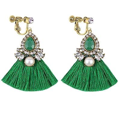 9777a8e3e Amazon.com: Thread Tassel Clip On Earrings Green Water Drop Bohemian ...