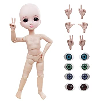 Large 1//3 BJD 19 Ball Jointed Body Doll Blue Brown Eyes With Make up 55CM Gift