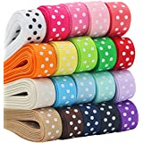 """QingHan Boutique 40yd (20 x 2yd) 3/8"""" Polka Dot Grosgrain Ribbons For Gifts Wrapping"""