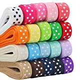 QingHan Boutique 40yd (20 x 2yd) 3/8' Polka Dot Grosgrain Ribbons For Gifts Wrapping