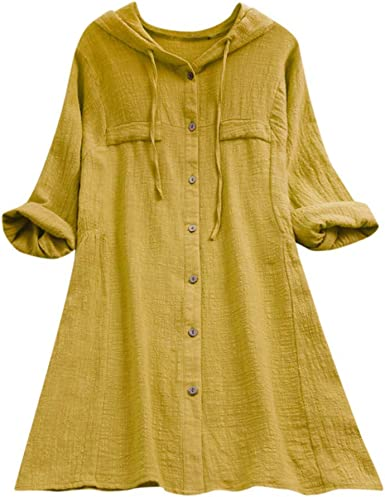 DressLksnf Camiseta de Manga Media Talla Grande Moda para Mujer Original Blusa Casual Color Puro Suelta Camisa de Capucha con Boton Básica Elegante: Amazon.es: Ropa y accesorios
