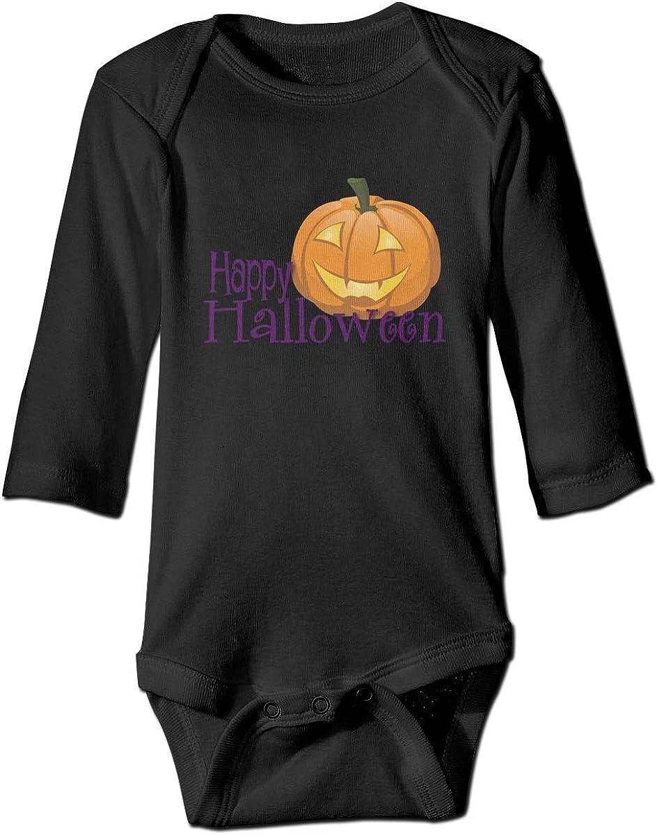 Marsherun Babys Boys and Girls Happy Halloween Jack-O-Lantern Long-Sleeve Bodysuits Playsuits