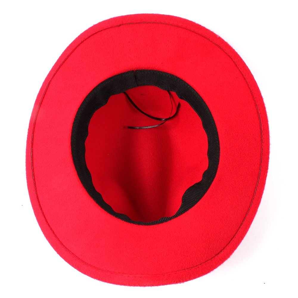 Bella House Classic Wool Blend Western Cowboy Hat Wide Brim Leather Band Funny Party Cap