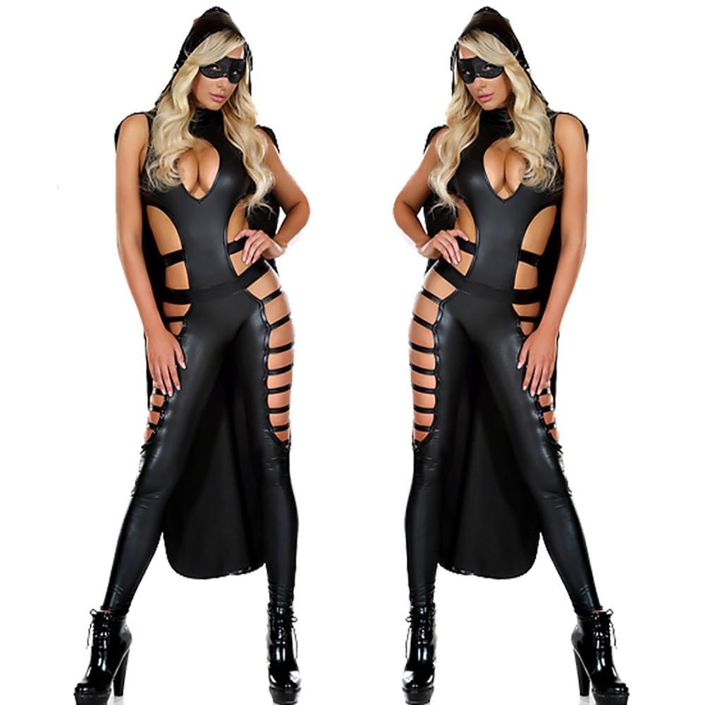 FUHOAHDD Lencería Sexy Mujer Catsuit Ninja PU Mono Ropa ...