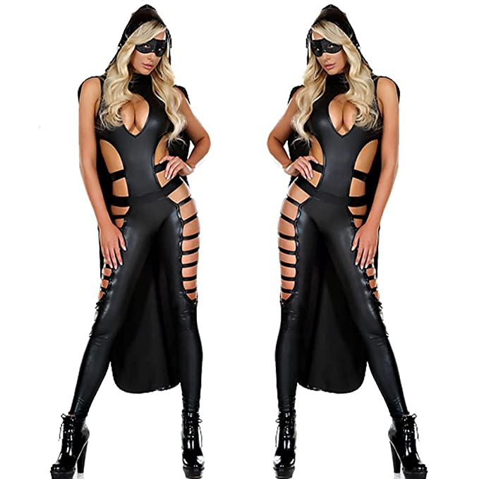 NEIYI Lencería Sexy Mujer Catsuit Ninja PU Mono Ropa Disfraz ...
