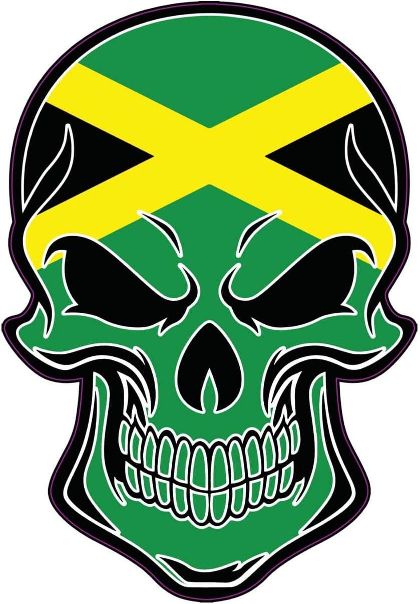 WickedGoodz Jamaican Flag Skull Vinyl Decal - Jamaica Bumper Sticker - Proud Jamaican Island Gift
