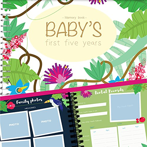 ve Years Memory Book With Stickers - Personalized Keepsake Scrapbook to Record your Adventures - Hardcover Newborn Babies 1st Year Journal And Baby Milestones Photo Album (Pear Head Photo)