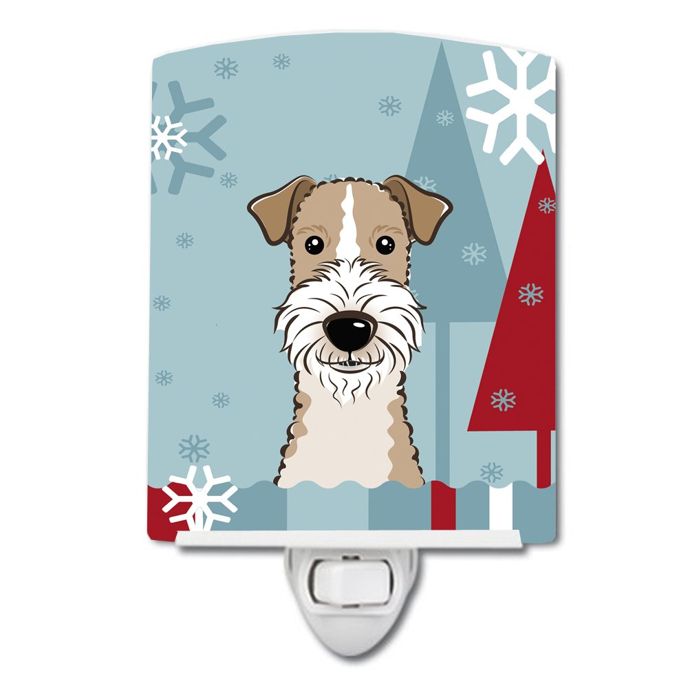 Carolines Treasures Winter Holiday Wire Haired Fox Terrier Ceramic Night Light 6x4 Multicolor
