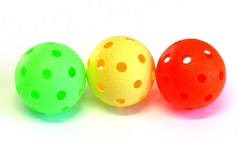 Kit de 3 balles de Floorball & Unihockey | Realstick | Couleur Mix | Balle de compétition + Balle d'entraînement certificat FIF pour une qualité contrôlée Tonnisport Oy