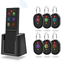 Localizzatore di Chiavi, Key Finder Trova Chiavi Tracker Senza Fili con Telecomando Trovatore Chiavi Localizzatore di Oggetti con Torcia a LED e Supporto di Base [1 Trasmettitore & 6 Ricevitori ]